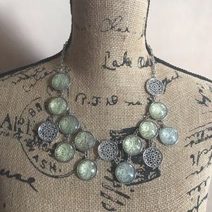 New York & Co Green and Silver Statement Necklace